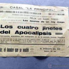 Cine: LOS CUATRO JINETES DEL APOCALIPSIS 1921 PROGRAMA CINE MUDO ORIGINAL LOCAL RODOLFO RUDOLPH VALENTINO. Lote 49891959