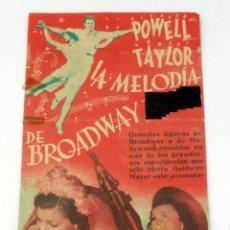 Cine: LA MELODÍA DE BROADWAY PROGRAMA MANO ROBERT TAYLOR ELEANOR POWELL TEATRO DE LA MARINA 1940. Lote 49893414