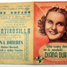 Cine: MENTIROSILLA PROGRAMA MANO DOBLE DIANA DURBIN CINE DORADO 1940. Lote 49909140