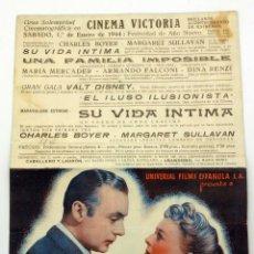 Cine: SU VIDA ÍNTIMA PROGRAMA MANO DOBLE CHARLES BOYER MARGARET SULLIVAN CINEMA VICTORIA 1944. Lote 49909595