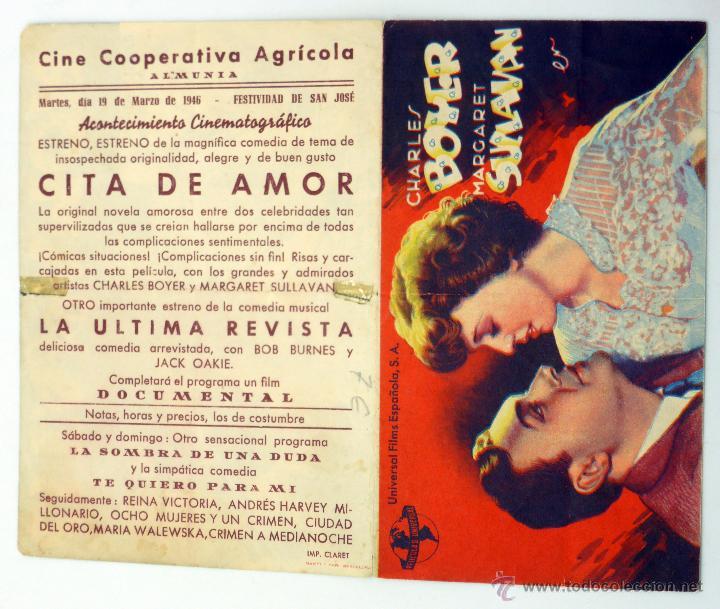 CITA DE AMOR PROGRAMA DOBLE CHARLES BOYER MARGARET SULLIVAN CINE COOPERATIVA AGRÍCOLA ALMUNIA 1946 (Cine - Folletos de Mano - Comedia)