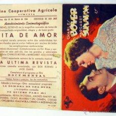 Cine: CITA DE AMOR PROGRAMA DOBLE CHARLES BOYER MARGARET SULLIVAN CINE COOPERATIVA AGRÍCOLA ALMUNIA 1946. Lote 49939732