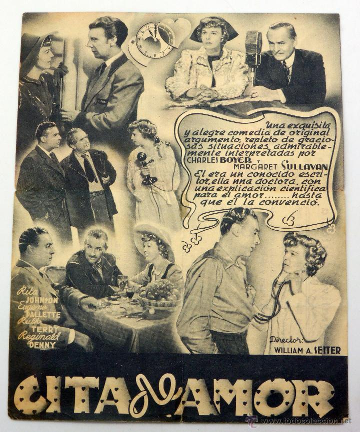 Cine: Cita de amor programa doble Charles Boyer Margaret Sullivan Cine Cooperativa Agrícola Almunia 1946 - Foto 2 - 49939732