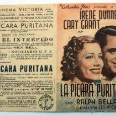 Cine: LA PÍCARA PURITANA PROGRAMA MANO DOBLE IRENE DUNNE CARY GRANT CINEMA VICTORIA 1941. Lote 49940306