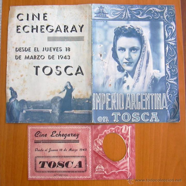 TOSCA - DOS PROGRAMAS DIFERENTES - IMPERIO ARGENTINA - PUBLICIDAD CINE ECHEGARAY (Cine - Folletos de Mano - Clásico Español)