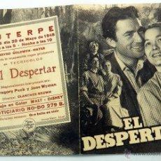 Cine: EL DESPERTAR PROGRAMA MANO DOBLE GREGORY PECK EUTERPE 1948. Lote 50022048
