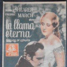Cine: LA LLAMA ETERNA,FOLLETO DE MANO (7565),CARTULINA,CONSERVACION,VER FOTOS. Lote 50023859
