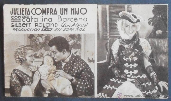 JULIETA COMPRA UN HIJO,FOLLETO DE MANO,(7885),CARTULINA,CONSERVACION,VER FOTOS (Cine - Folletos de Mano - Clásico Español)