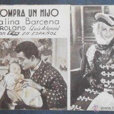 Cine: JULIETA COMPRA UN HIJO,FOLLETO DE MANO,(7885),CARTULINA,CONSERVACION,VER FOTOS. Lote 50104254