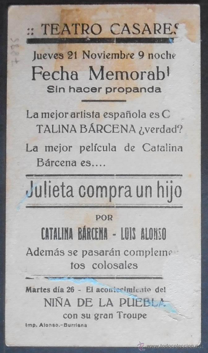 Cine: JULIETA COMPRA UN HIJO,FOLLETO DE MANO,(7885),CARTULINA,CONSERVACION,VER FOTOS - Foto 2 - 50104254