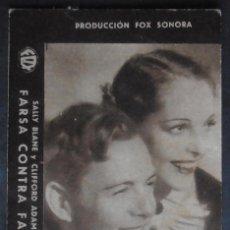 Cine: FARSA CONTRA FARSA,FOLLETO DE MANO (8312), CARTULINA,CONSERVACION,VER FOTOS. Lote 50181125
