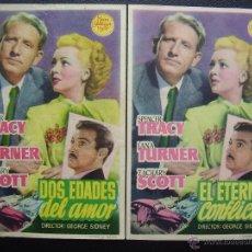 Cine: EL ETERNO CONFLICTO, DOS EDADES DEL AMOR, SPENCER TRACY, LANA TURNER, VARIANTE. Lote 50255982