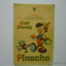 Cine: PROGRAMA PINOCHO .- WALT DISNEY- CONGREGACIONES MARIANAS MANRESA. Lote 50268388