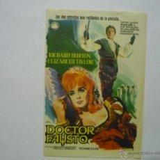 Cine: PROGRAMA DOCTOR FAUSTO .-RICHARD BURTON -R.TAYLOR. Lote 50277990