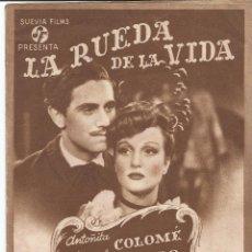 Cine: LA RUEDA DE LA VIDA - DOBLE SUEVIA FILMS - PUBLICIDAD TEATRO PRINCIPAL. Lote 50323318