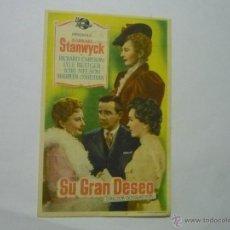 Cine: PROGRAMA SU GRAN DESEO -BARBARA STANWYCK-PUBLICIDAD. Lote 52378086
