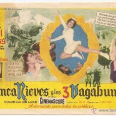 Cine: BLANCANIEVES Y LOS 3 VAGABUNDOS. PUBLICIDAD DE CINE DE BELLPUIG. Lote 50358830