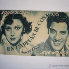 Cine: ANTIGUO PROGRAMA CARTULINA CINE PELICULA FOX 17 NOVI.1934 UN CAPITAN DE COSACOS. Lote 50366621