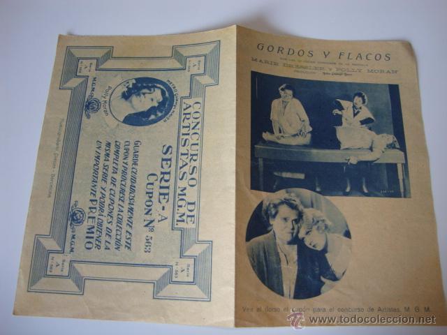 ANTIGUO Y RARO PROGRAMA MANO DOBLE PELICULA MGM GORDOS Y FLACOS MARIE DRESSLER POLLY MORAN (Cine - Folletos de Mano - Musicales)