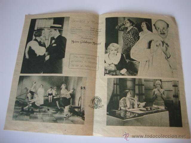Cine: ANTIGUO Y RARO PROGRAMA MANO DOBLE PELICULA MGM GORDOS Y FLACOS Marie Dressler POLLY MORAN - Foto 2 - 50374916