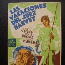 Cine: LAS VACACIONES DEL JUEZ HARVEY, MICKEY ROONEY. Lote 50375474