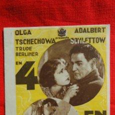 Cine: 4 EN LA TEMPESTAD, DOBLE ORIGINAL AÑOS 30, OLGA TSCHECHOWA ADALBERT SCHETTOW, SIN PUBLICIDAD. Lote 50387128