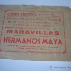 Cine: ANTIGUO Y RARO PROGRAMA DOBLE MARAVILLAS HERMANOS MAYA GRAN TEATRO ELCHE, AÑO 1942. Lote 50453075