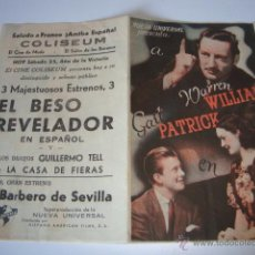 Cine: ANTIGUO PROGRAMA EL BESO REVELADOR, DOBLE , WARREN WILLIAM GAIL PATRICK,. Lote 50453307