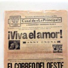 Cine: VIVA EL AMOR 1930 PROGRAMA CARTEL PASQUIN DOBLE ORIGINAL. Lote 50454114