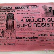 Cine: LA MUJER QUE SUPO RESISTIR ...PROGRAMA CINE MUDO CARTEL PASQUIN DOBLE ORIGINAL. Lote 50454123