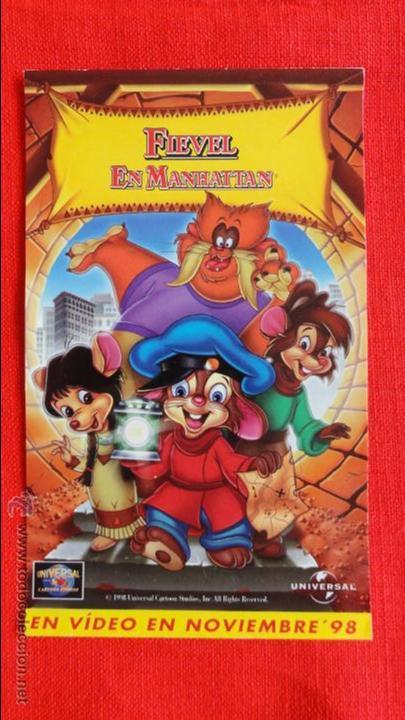 FIEVEL EN MANHATTAN, IMPECABLE PEGATINA UNIVERSAL (Cine - Folletos de Mano - Infantil)