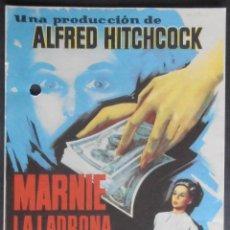 Folhetos de mão de filmes antigos de cinema: MARNIE LA LADRONA,FOLLETO DE MANO,(9924),CONSERVACION,VER FOTOS. Lote 50477146