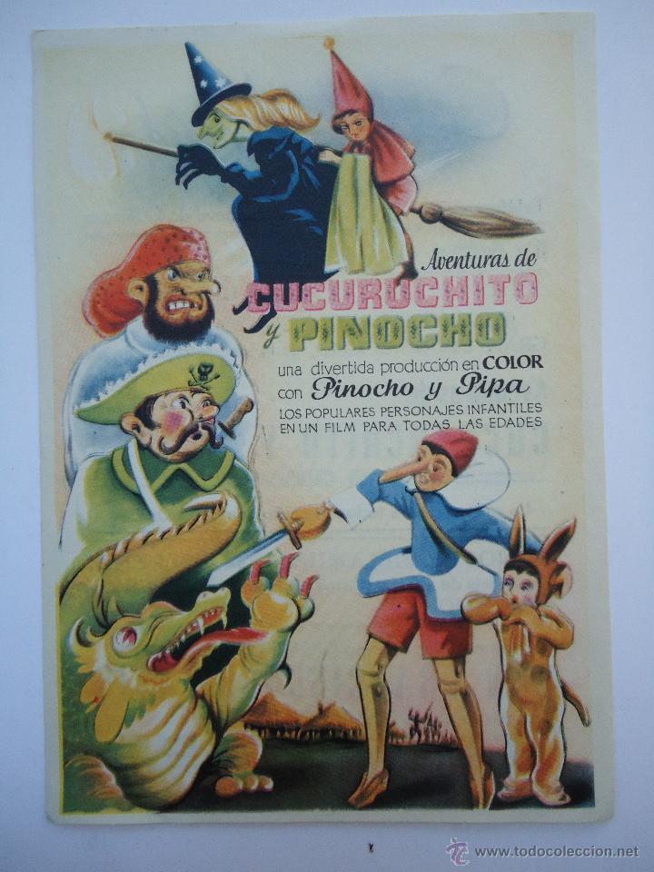 PROGRAMA DE CINE.AVENTURAS DE CUCURUCHITO Y PINOCHO, CON PUBLICIDAD CINE AVENIDA. (Cine - Folletos de Mano - Infantil)