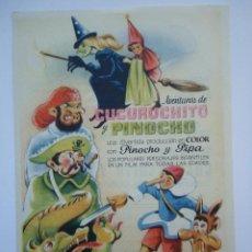 Cine: PROGRAMA DE CINE.AVENTURAS DE CUCURUCHITO Y PINOCHO, CON PUBLICIDAD CINE AVENIDA.. Lote 50504092