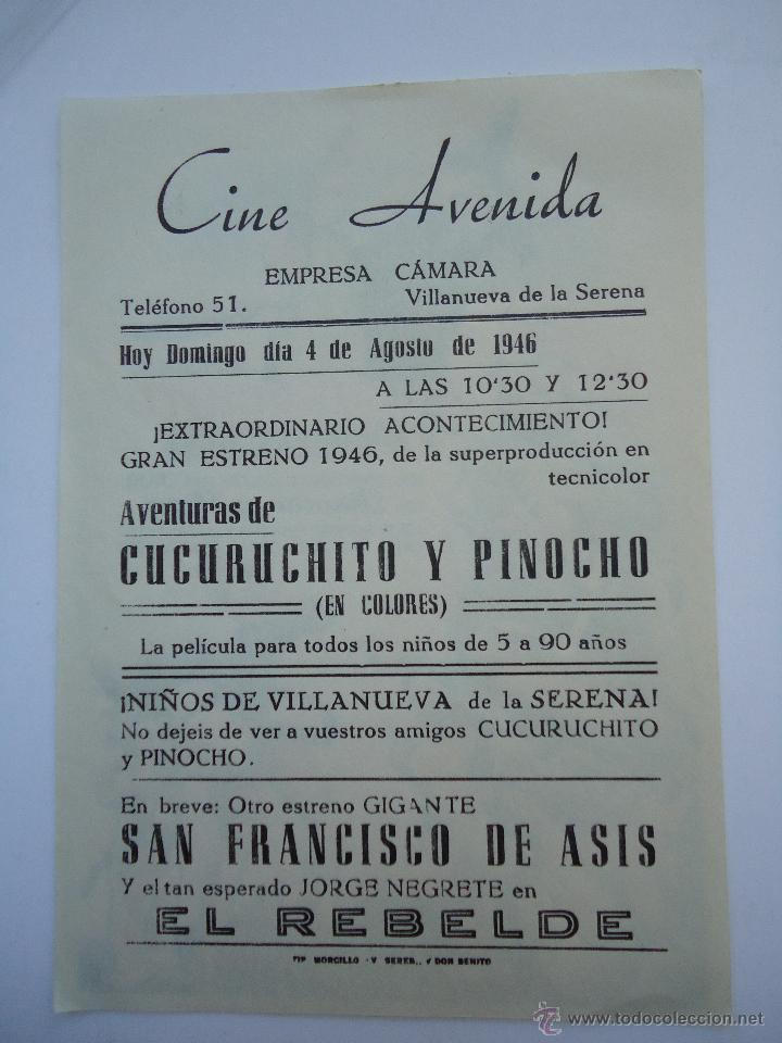 Cine: PROGRAMA DE CINE.AVENTURAS DE CUCURUCHITO Y PINOCHO, CON PUBLICIDAD CINE AVENIDA. - Foto 2 - 50504092