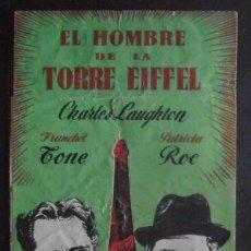 Cine: EL HOMBRE DE LA TORRE EIFFEL,FOLLETO DE MANO TROQUELADO,(10405),CONSERVACION,VER FOTOS. Lote 50505614