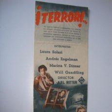 Cine: PROGRAMA DE CINE ORIGINAL DE LA PELÍCULA ITALIANA ¡TERROR! LAURA SOLARI. AÑO 1943 IDEAL CINEMA ELCHE. Lote 50514122
