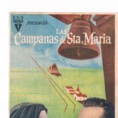 Cine: FOLLETO DE MANO LAS CAMPANAS DE SANTA MARÍA INGRID BERGMAN BING CROSBY ANTIGUO CINE JU. Lote 50516615