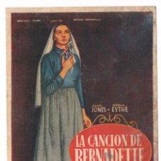 Cine: FOLLETO DE MANO ANTIGUO LA CANCIÓN DE BERNADETTE CINE JU. Lote 50516698