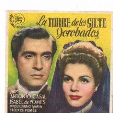 Cine: FOLLETO MANO ANTIGUO LA TORRE DE LOS SIETE JOROBADOS EDGAR NEVILLE JU. Lote 100679775