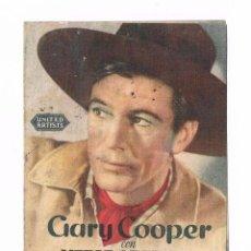 Cine: FOLLETO DE MANO EL VAQUERO Y LA DAMA GARY COOPER WESTERN ANTIGUO CINE JU. Lote 50517155