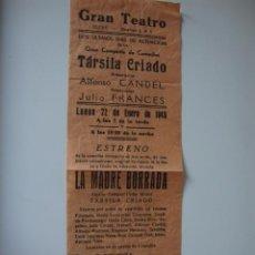 Cine: ANTIGUO PROGRAMA DOBLE AÑO 1945 TARSIA CRIADO LA MADRE CHIFLADA ELCHE 10X32 CMT. Lote 50517188