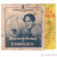Cine: FOLLETO DE MANO SHERLOCK HOLMES EN WASHINGTON BASIL RATHBON ANTIGUO CINE JU. Lote 50517220