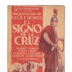 Cine: FOLLETO DE MANO ANTIGUO EL SIGNO DE LA CRUZ CECIL B. DE MILLE CHARLES LAUGHTON CINE JU. Lote 50517496