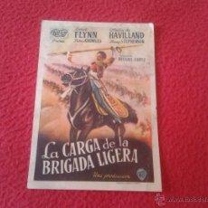 Cine: ANTIGUO FOLLETO DE CINE DE MANO PUBLICIDAD CINE ECIJA LA CARGA DE LA BRIGADA LIGERA ERROL FLYNN OLIV. Lote 50546278