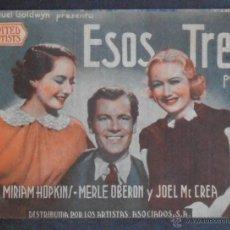 Folhetos de mão de filmes antigos de cinema: ESOS TRES,FOLLETO DE MANO,(10473),CONSERVACION,VER FOTOS. Lote 50553667