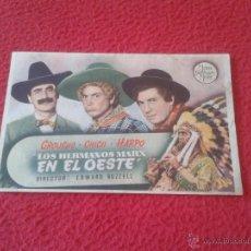 Cine: ANTIGUO FOLLETO DE CINE DE MANO PUBLICIDAD CINE ECIJA LOS HERMANOS MARXK EN EL OESTE GROUCHO CHICO H. Lote 50554614