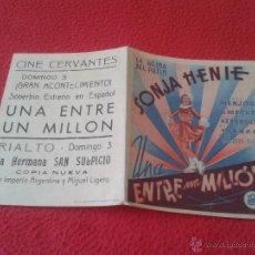 Cine: ANTIGUO FOLLETO DE CINE DOBLE DE MANO PUBLICIDAD CINE ECIJA UNA ENTRE UN MILLON LA REINA DEL PATIN. Lote 50554707