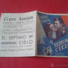 Cine: ANTIGUO FOLLETO DE CINE DOBLE DE MANO PUBLICIDAD CINE ECIJA EL SEPTIMO CIELO JAMES STEWART SIMONE SI. Lote 50554804