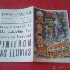 Cine: ANTIGUO FOLLETO DE CINE DOBLE DE MANO PUBLICIDAD CINE ECIJA VINIERON LAS LLUVIAS TYRONE POWER IDEAL . Lote 50554899